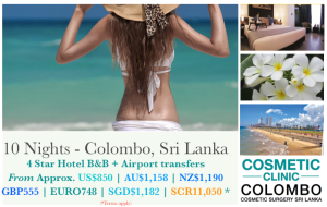 Stay in Colombo for cosmetic surgery clients. Packages and airport transfers, B&B. 10 and 14 nights. Sri Lanka.