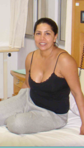 Sita relaxing on the day of her cosmetic surgery for whole body liposuction