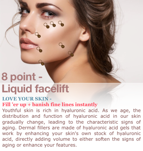 8 point lift liquid facelift. Fillers - Define and refresh anti aging anti wrinkle smooth skin