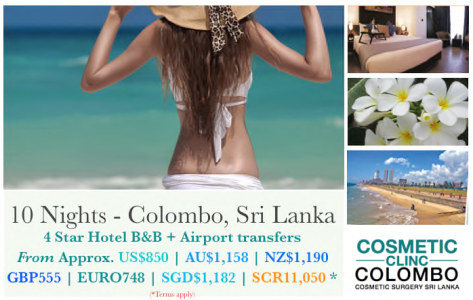 Stay in Colombo for cosmetic surgery clients. Packages and airport transfers, B&B. 10 and 14 nights.