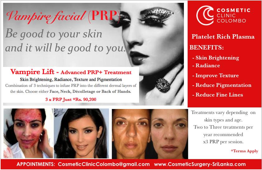 PRP Platelet Rich Plasma Skin brightening Vampire facelift Colombo Sri Lanka Dr Dulip
