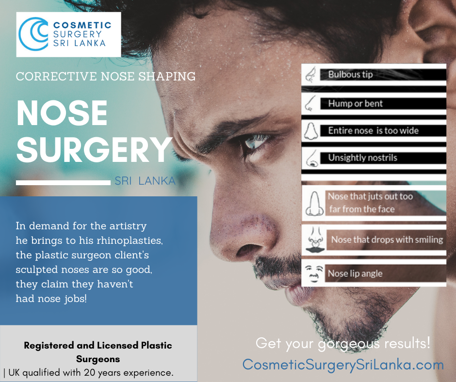 NOSE SURGERY Surgical and Non Surgical nose shaping 20 years experience plastic surgeon Sri Lanka Colombo Tip Refinement